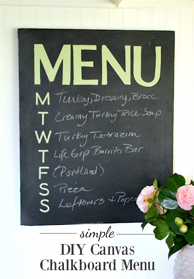 Simple and easy DIY Canvas Chalkboard Menu