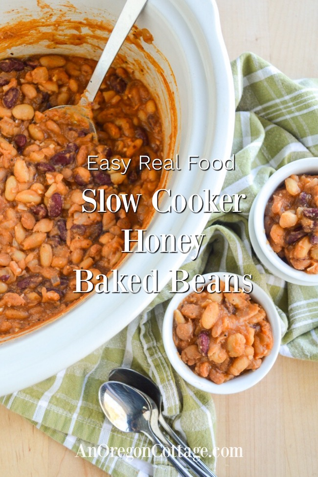 Slow cooker baked beans above in pot