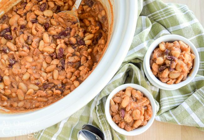 slow cooker honey baked beans above