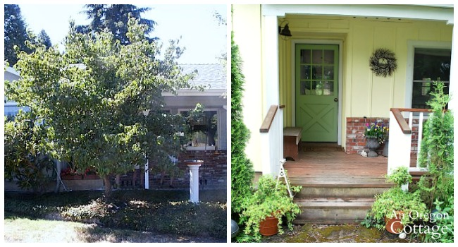 Cottage curb appeal-Front Door before and after