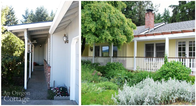 Ranch cottage front porch before and after