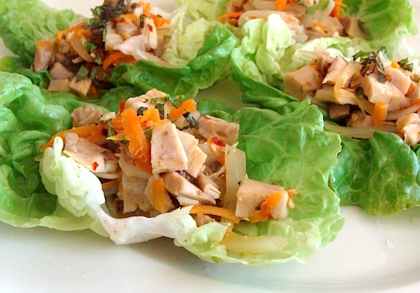 Chicken-lime lettuce wraps make a quick and refreshing meal.