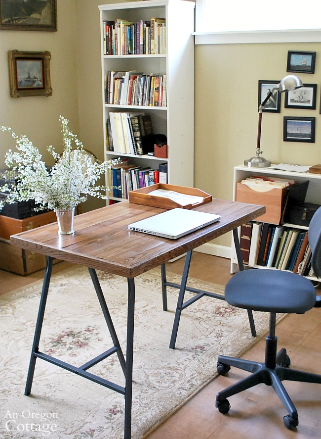 DIY Desk With Ikea Trestle Legs And Salvaged Wood Flooring Top  An Do Able