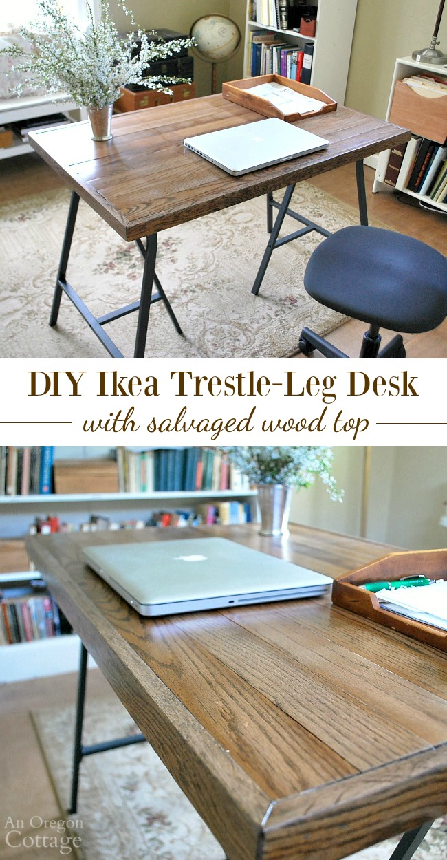 How to make an rustic industrial style desk with Ikea trestle legs and salvaged wood flooring for around $30!