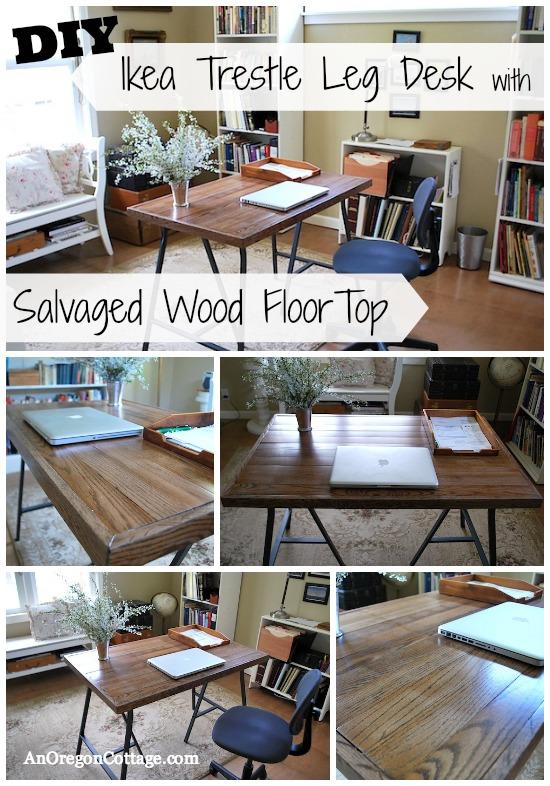 Salvaged Wood-Ikea Trestle Leg Desk