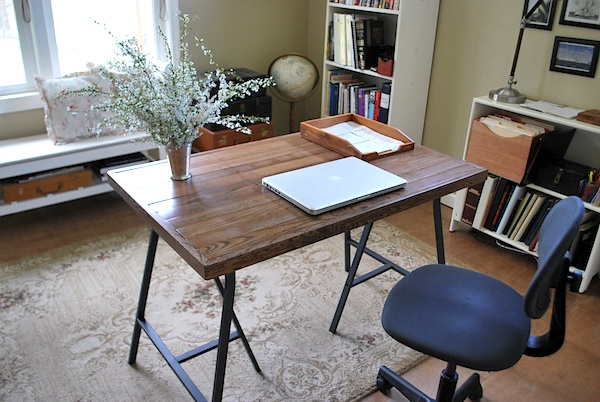 Salvaged Wood Trestle Desk