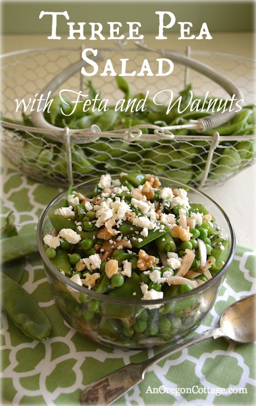 Three Pea Salad with Feta and Walnuts