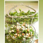 fresh pea salad with feta-walnuts