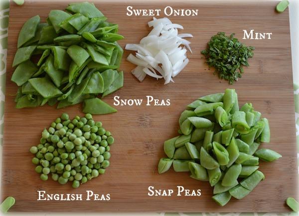 Three Pea Salad ingredients