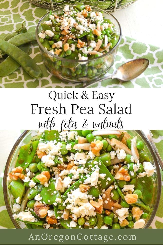 quick fresh pea salad with feta