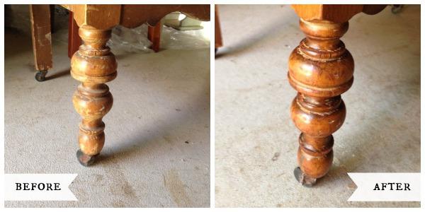 Antique Dresser Leg before-after::AnOregonCottage.com