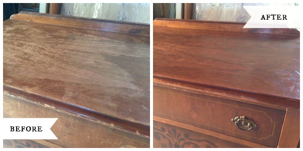 Antique dresser top before-after::AnOregonCottage.com
