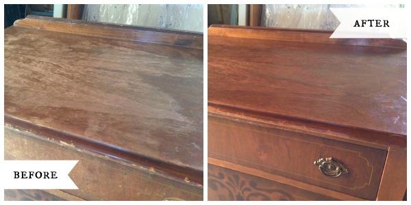 Antique dresser top before-after::AnOregonCottage.com
