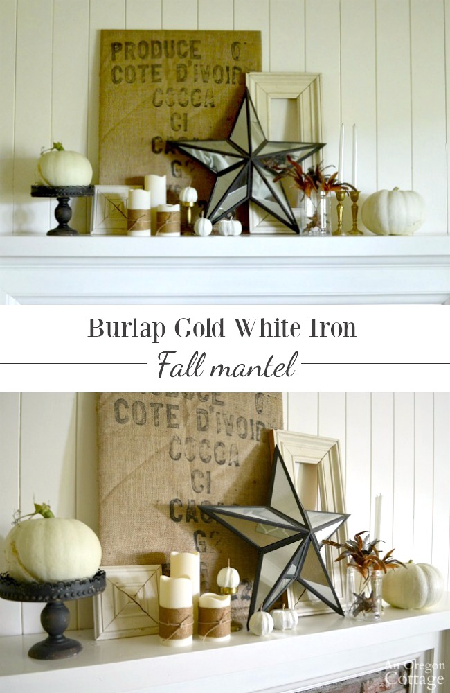 Burlap Gold White Iron Fall Mantel- thrifted, use what you have rustic fall decor idea
