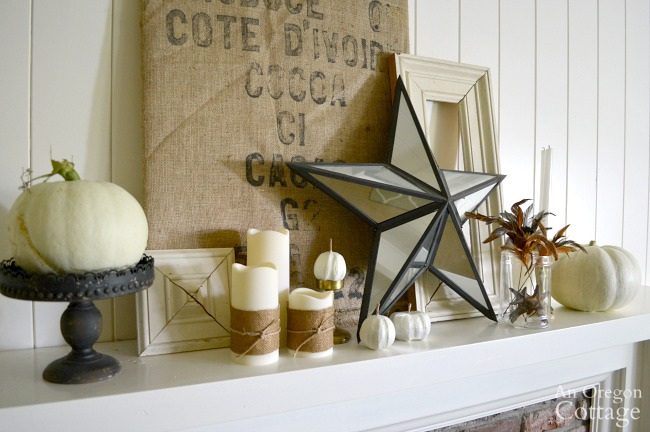 Burlap Gold White Iron Fall Mantel with burlap wrapped candles