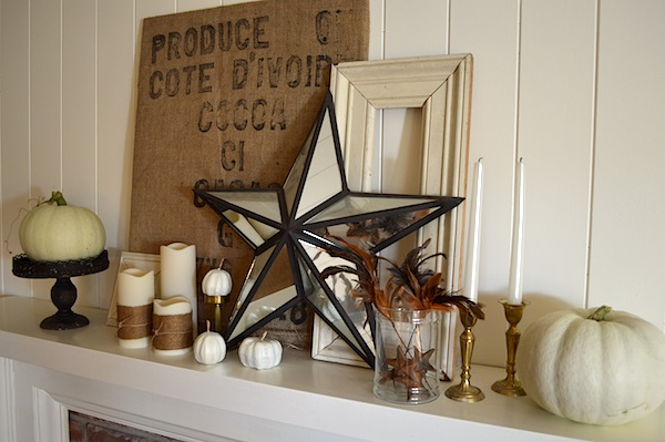 Fall 2013 Mantel: Burlap-White-Gold :: An Oregon Cottage