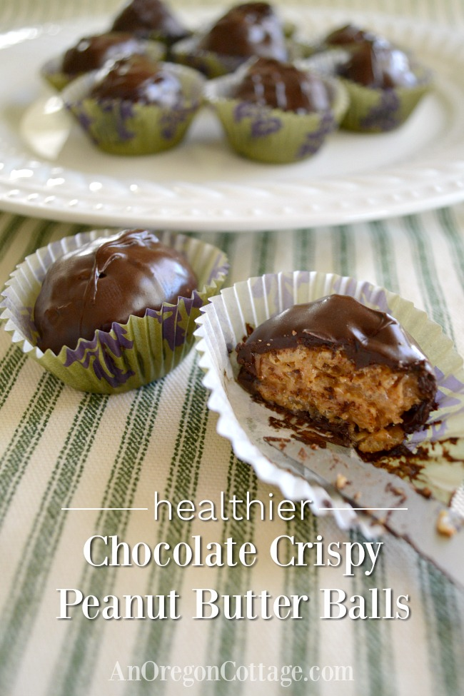 Healthier chocolate crispy peanut butter balls pin image