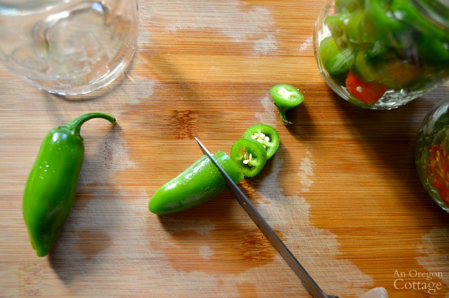 Slicing jalapeños for quick pickled jalapeños
