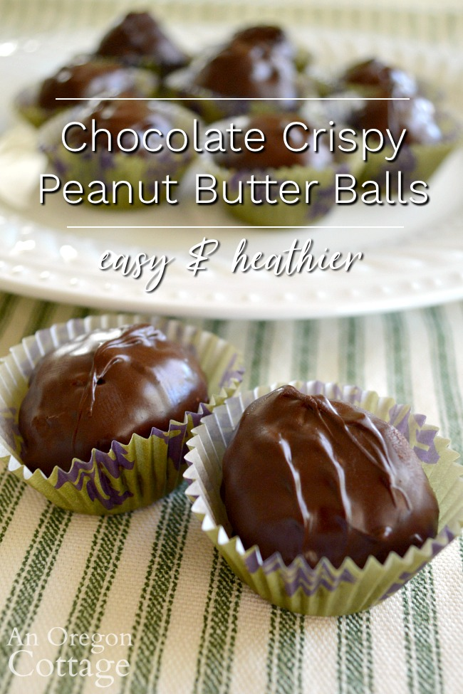 easy and healthier chocolate crispy peanut butter balls pin image