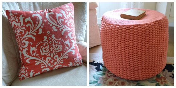 Coral pillow and pouf - An Oregon Cottage