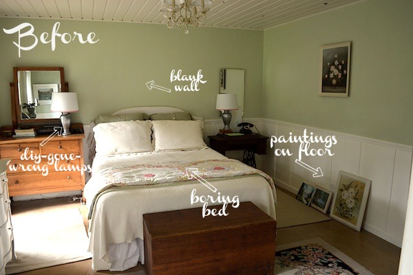 Coral green master bedroom reveal for Cottage master bedroom ideas