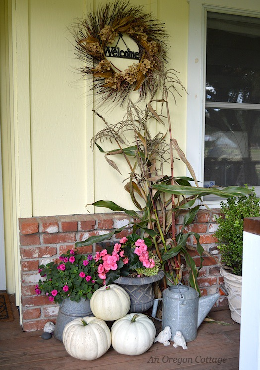 Pumpkins, flowers, and cornstalks-An Oregon Cottage