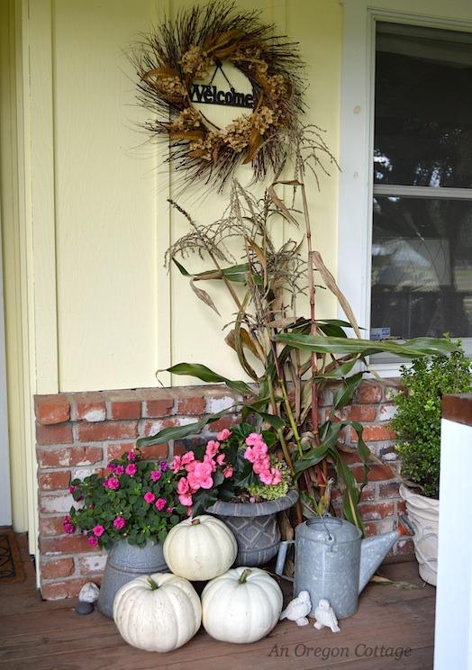 Pumpkins, flowers, and cornstalks-An Oregon Cottage