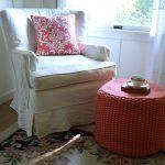 White chair: coral pillow & pouf - An Oregon Cottage