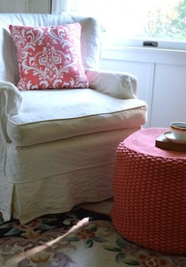 White chair: coral pillow & pouf - An Oregon Cottage