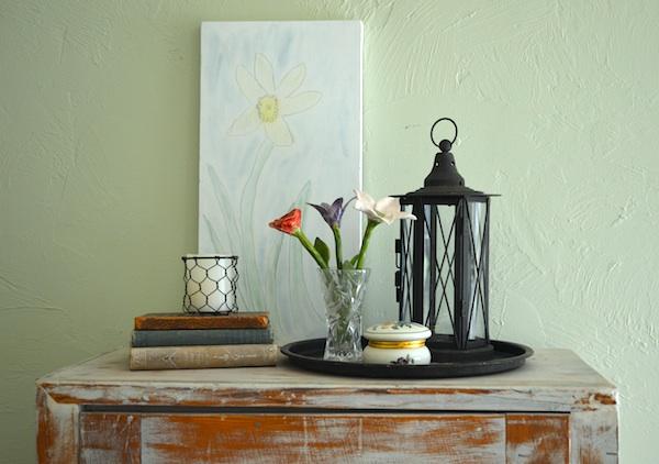 Bedroom cabinet vignette on An Oregon Cottage