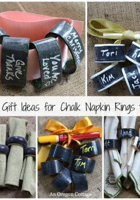 Chalk Napkin Rings from Thrift Store Finds Make a Great Gift! An Oregon Cottage