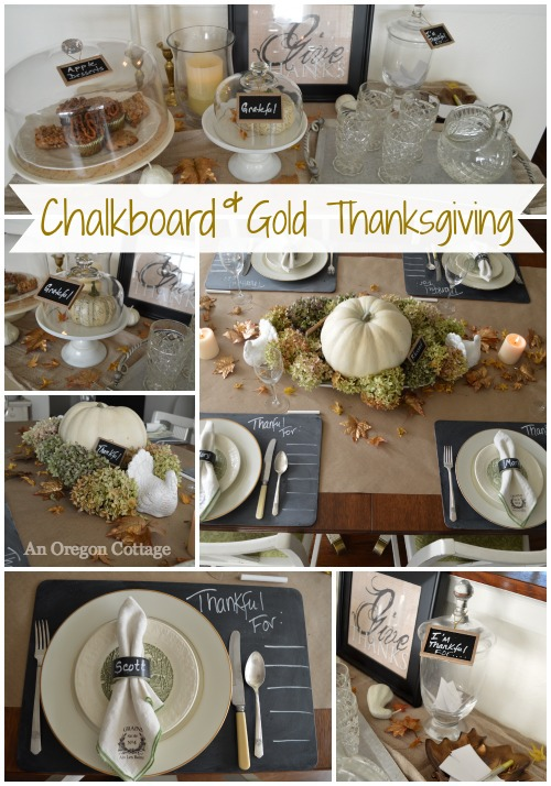Chalkboard & Gold Thanksgiving Decor- An Oregon Cottage