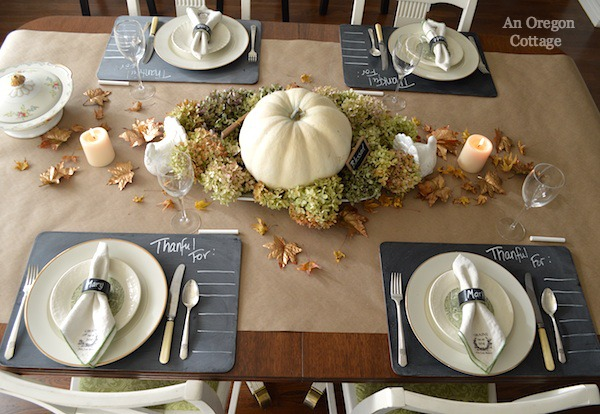 Chalkboard & Gold Thanksgiving Tablescape- An Oregon Cottage