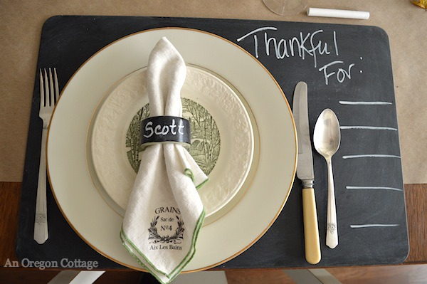 Thanksgiving Chalkboard Placesetting- An Oregon Cottage