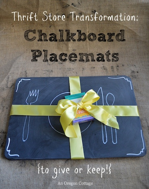 Thrift Store Transformation-Chalkboard Placemats