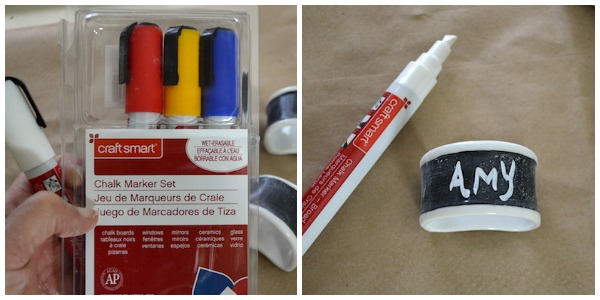 Using chalk markers on Chalkboard Napkin Rings An Oregon Cottage