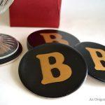 Black-Gold Monogram Coasters- An Oregon Coasters