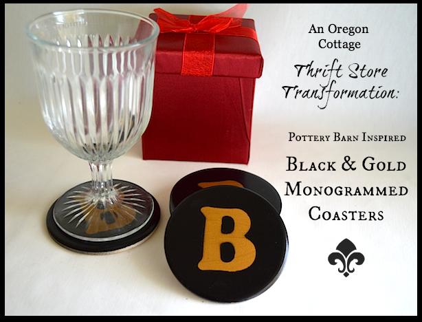 Black-Gold Monogrammed Coasters- An Oregon Cottage