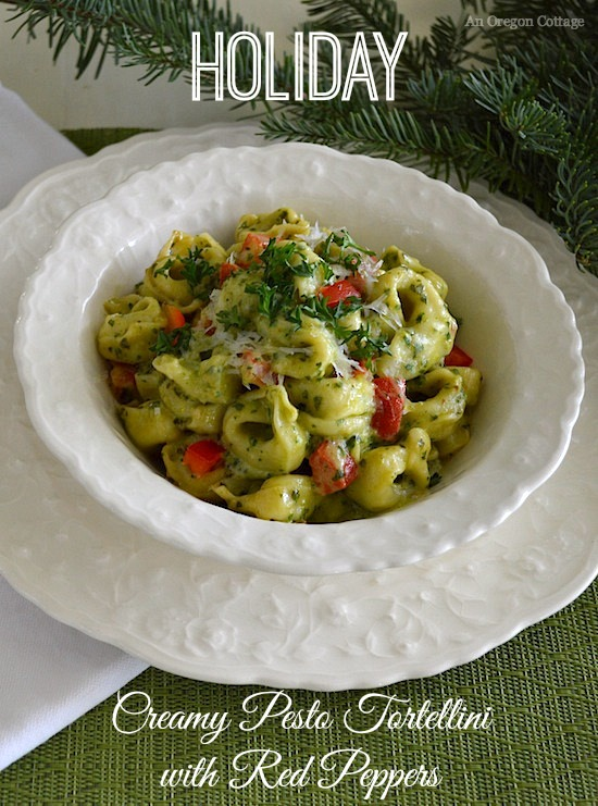 Creamy Pesto Tortellini with Red Peppers - An Oregon Cottage