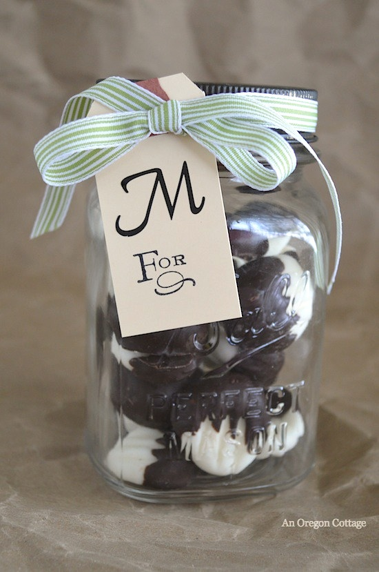 Dark Chocolate Covered Cream Cheese Mints in Mason Jar - An Oregon Cottage