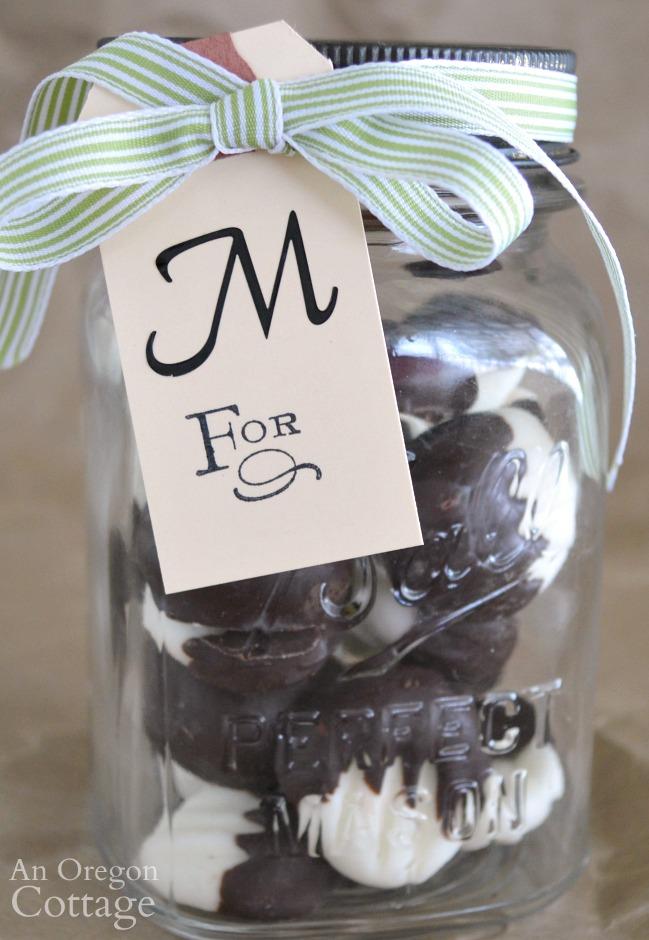 Dark Chocolate Cream Cheese Mints Mason Jar Gift