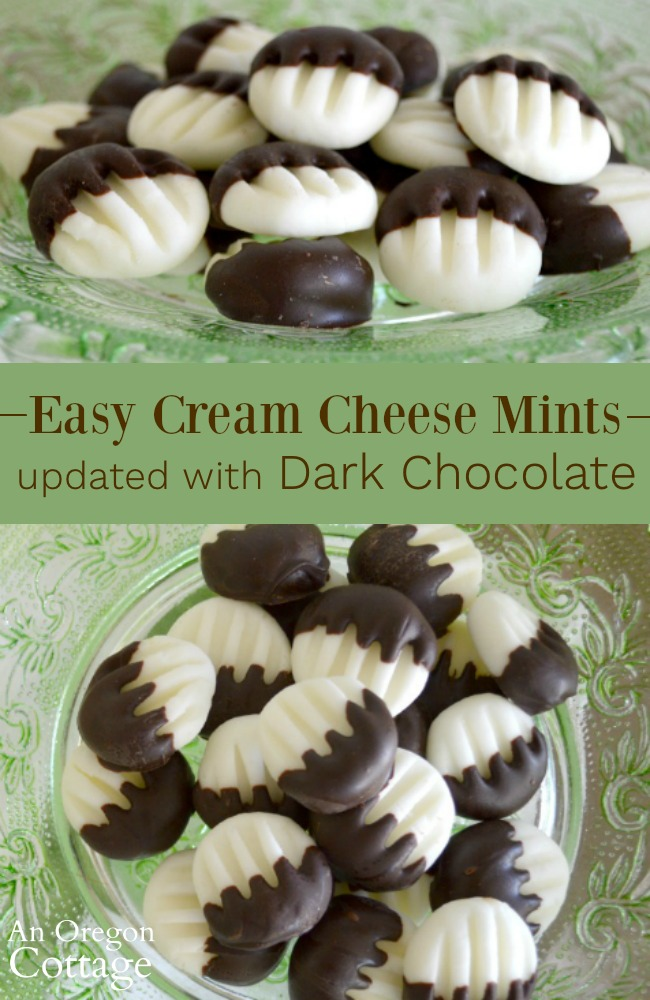 Easy cream cheese mints updated with dark chocolate