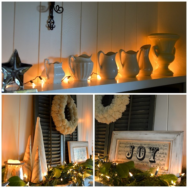Green-White Christmas Mantel Lights - An Oregon Cottage