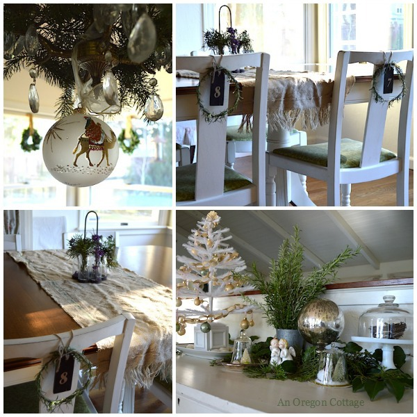 Green-White Dining Room Christmas Decor - An Oregon Cottage