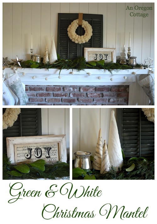 Green and White Christmas Mantel - An Oregon Cottage