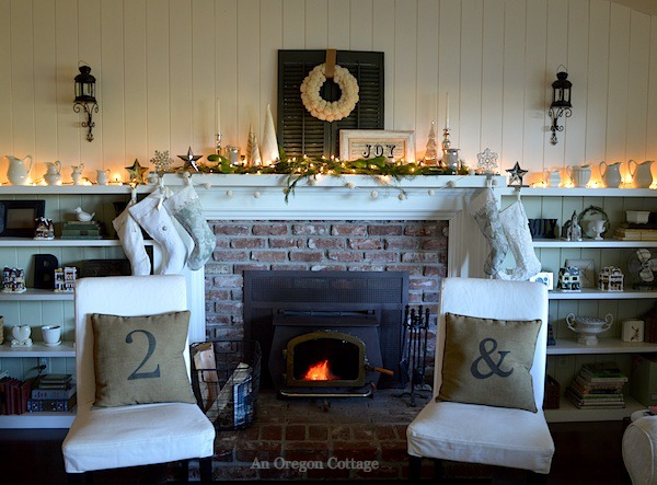 Lit Green-White Christmas Mantel - An Oregon Cottage