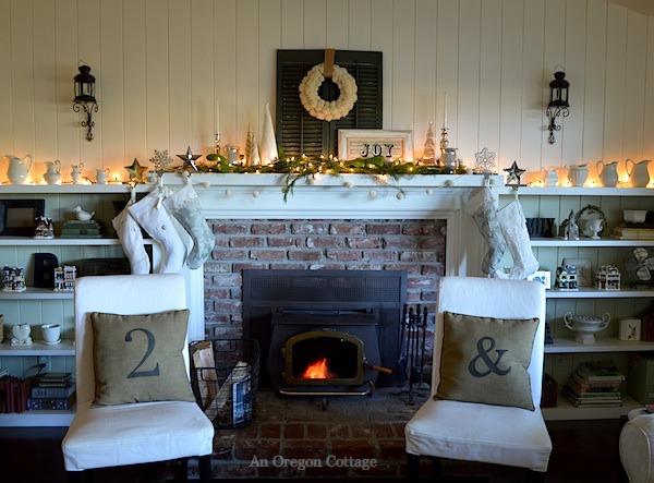 Lit Green-White Christmas Mantel - An Oregon Cottage