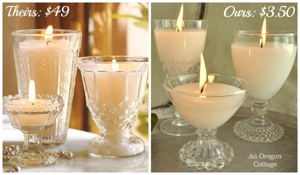 PB Goblet Candles vs. An Oregon Cottage Thrifted Candles