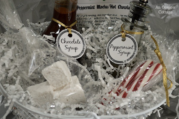 Homemade cappuccino and Peppermint Mocha Gift Baskets