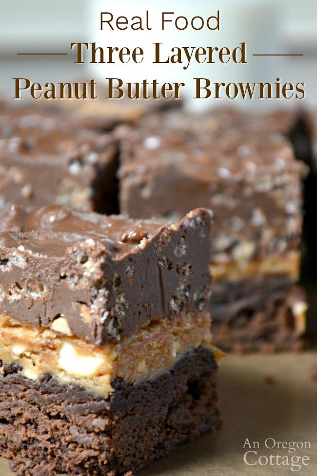 Real food three layered peanut butter brownies pin